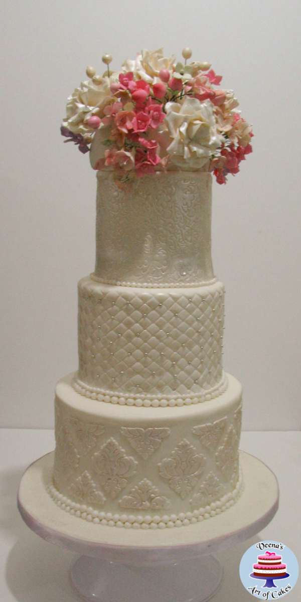 white spring wedding cake